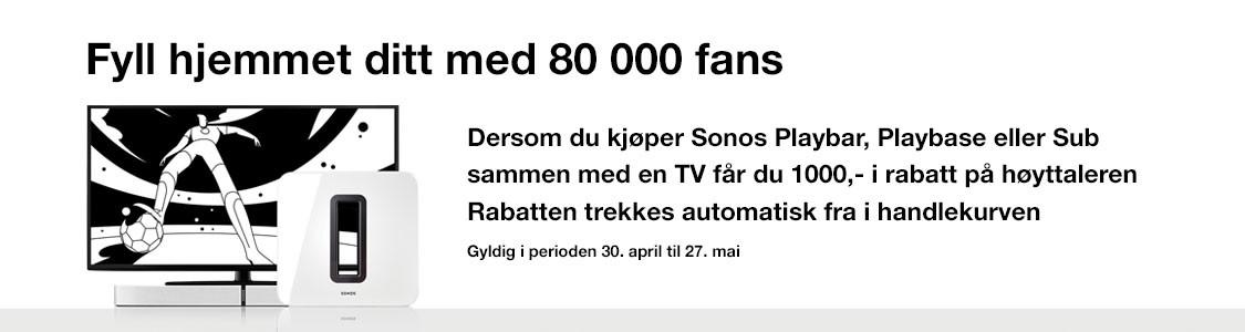 1000,- av på Sonos ved kjøp av TV
