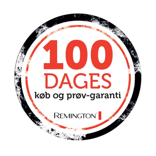 Prøv dit nye Remington produkt i 100 dage. Hvis du ikke er tilfreds, kan du returnere produktet til dit nærmeste Elgiganten varehus og få pengene tilbage..