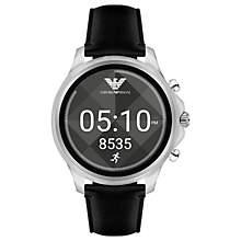 Emporio Armani Mens Wrist Watch black leather