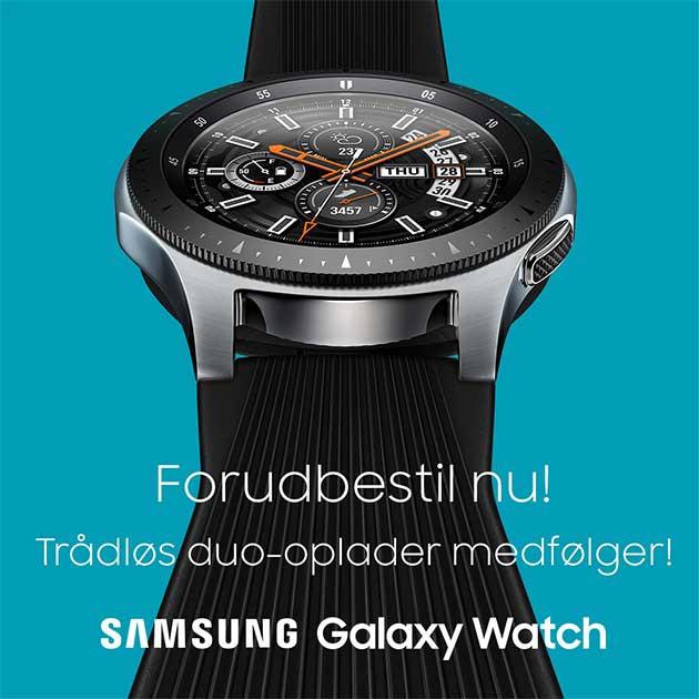 Forudbestil et Galaxy Watch mellem den 14.09.2018 og 27.09.2018, og få en trådløs duo-oplader med i købet
