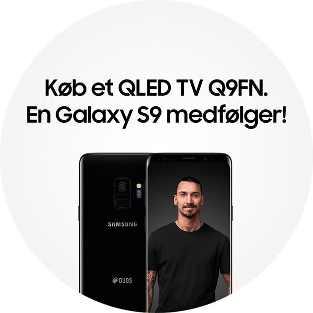 Køb et Samsung QLED Q9FN TV og få en sort Samsung Galaxy S9 smartphone med i købet