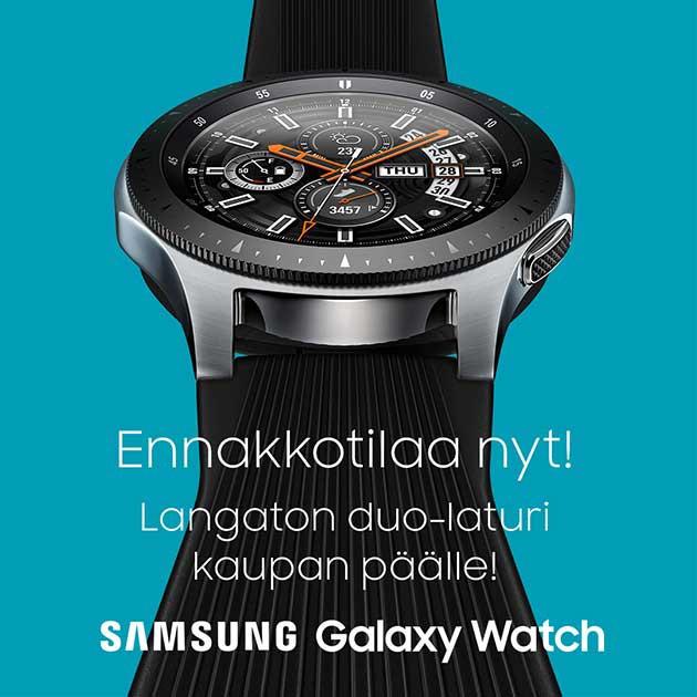 Ennakkotilaa Galaxy Watch 14.09.-27.09.2018 välisenä aikana ja saat langattoman duo-laturin kaupan päälle