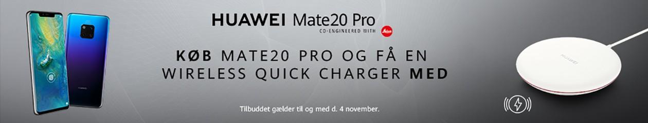 Køb Huawei Mate 20 Pro i Elgiganten og få en wireless quick charger med i købet.