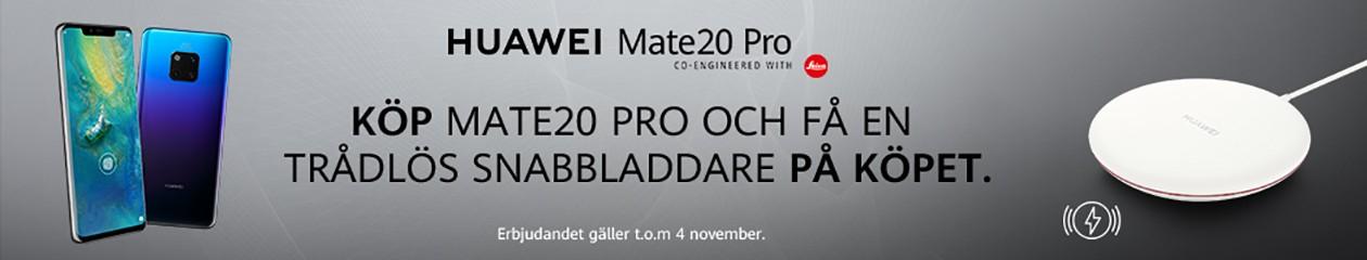 Köb Huawei Mate 20 Pro hos Elgiganten och få en trådlös snabbladdare på köpet.