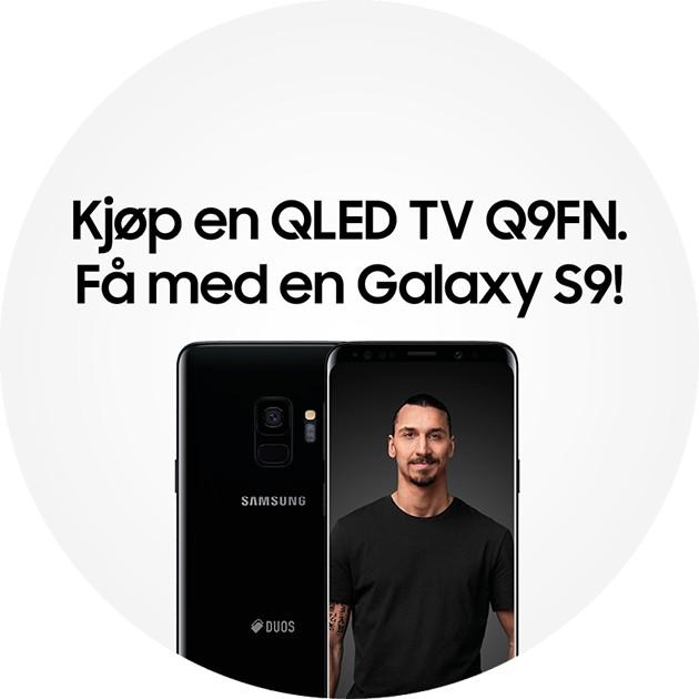 Kjøp en Samsung QLED Q9FN TV og få en sort Galaxy S9 smarttelefon med på kjøpet