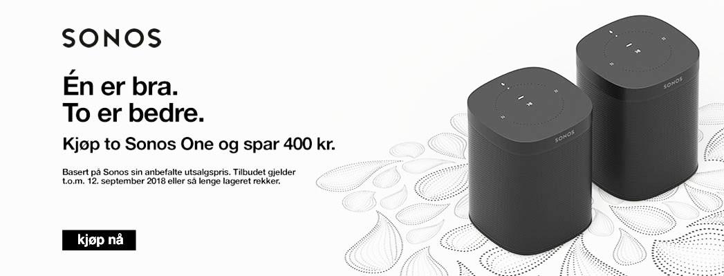 400,- avslag ved kjøp av 2 Sonos ONE