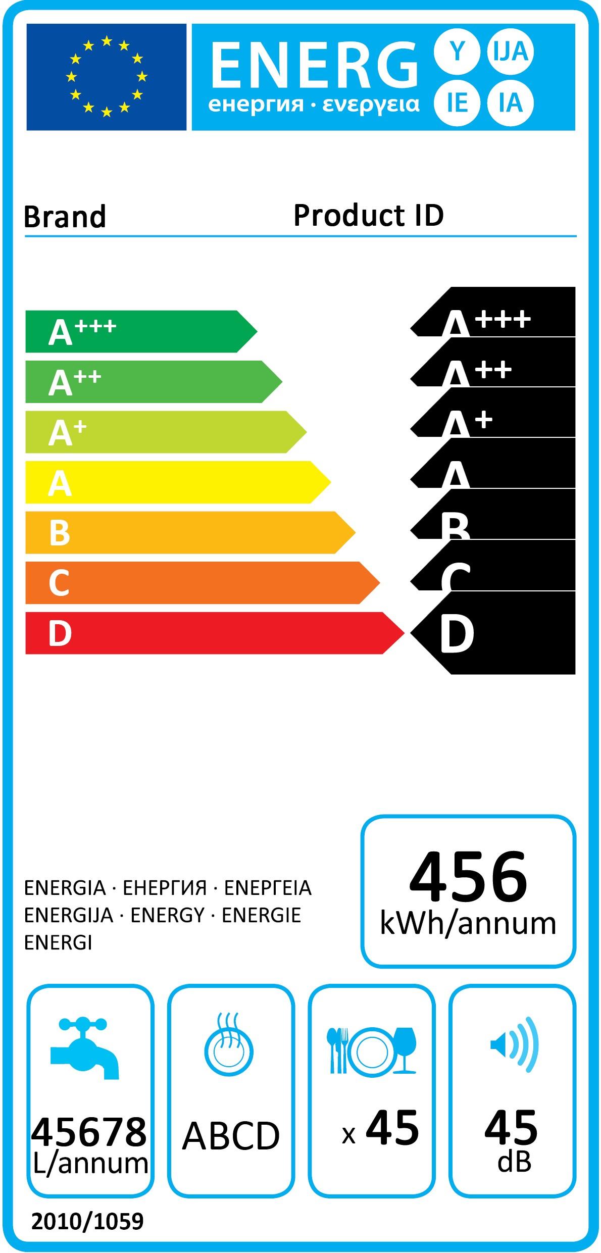 Orkumerki - BOSCH DISH 44DB VS HP ED VFB A++