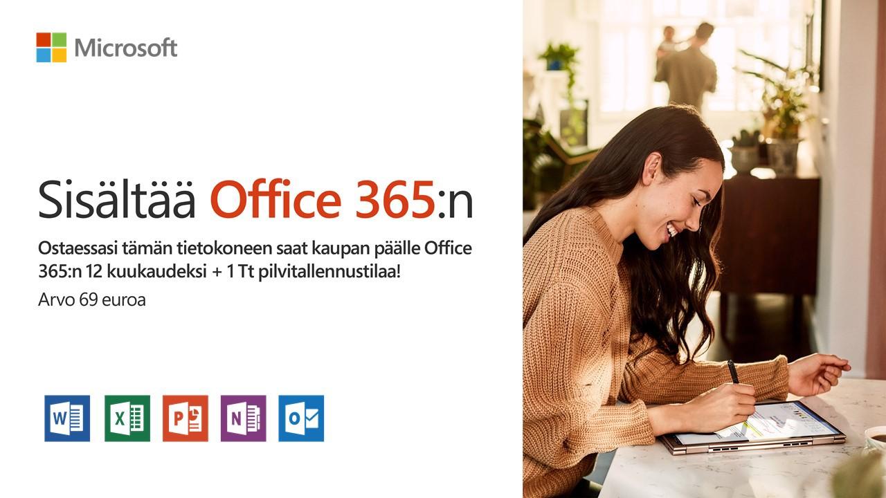 Ostaessasi tämän tietokoneen saat kaupan päälle Office 365:n 12 kuukaudeksi + 1 Tt pilvitallennustilaa