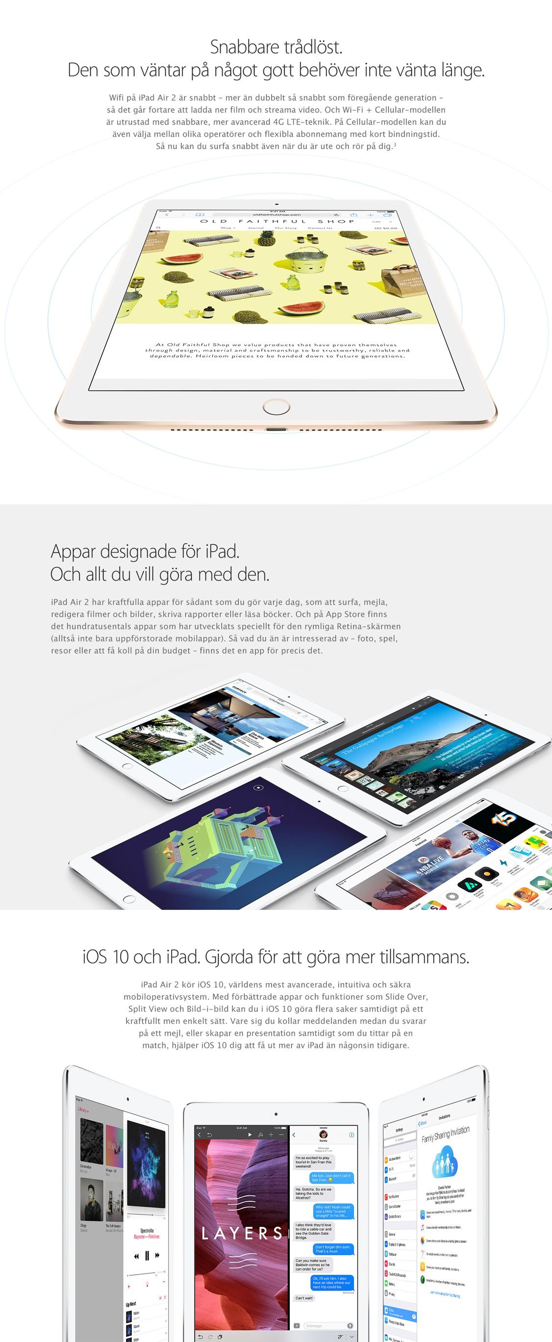 """iPad Air 2 är designad för en svårslagen användarupplevelse"""" title="""