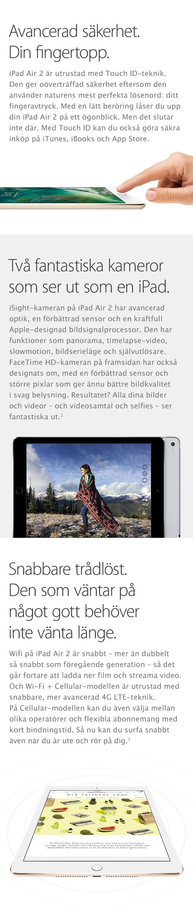 iPad Air 2 är en surfplatta med två otroliga kameror