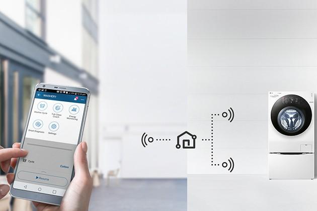 LG TWINWash - käynnistä ohjelma älypuhelimen sovelluksella