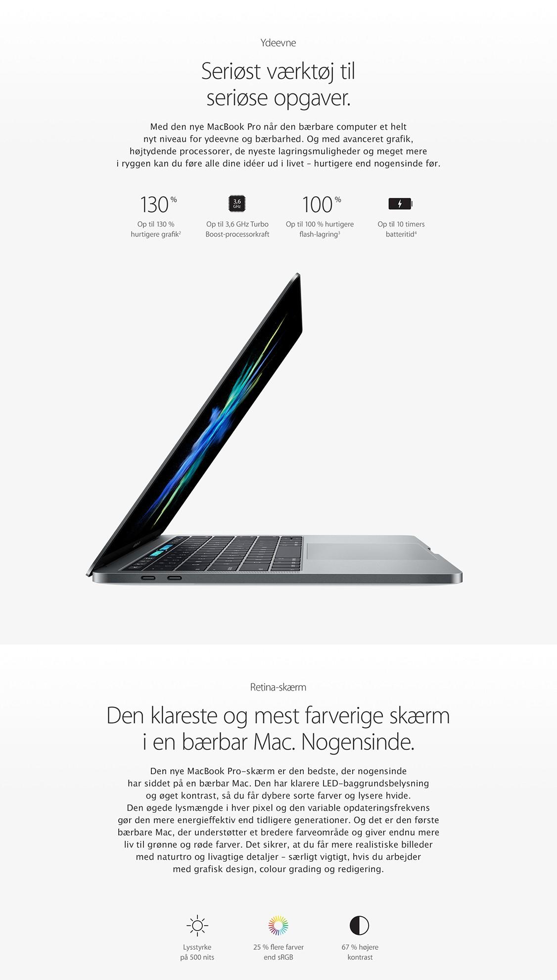 Med MacBook Pro får du et seriøst værktøj med en utrolig skærm