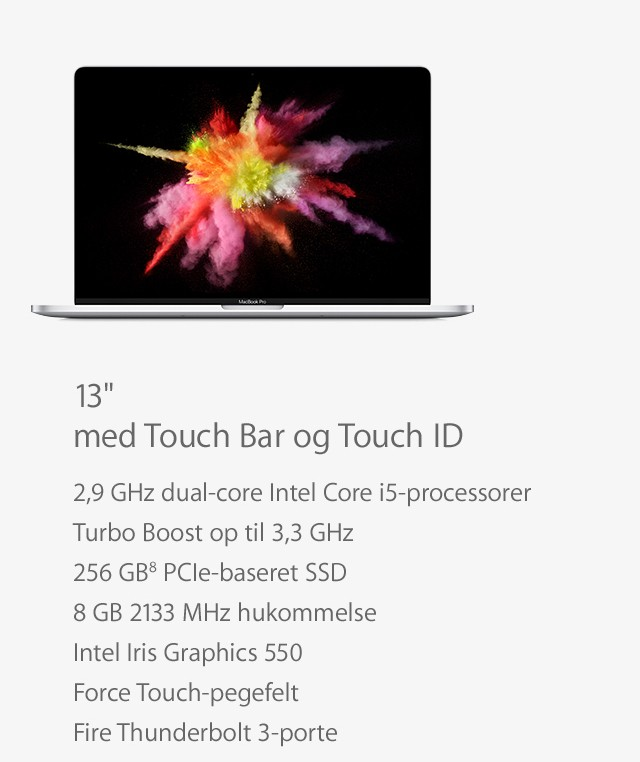MacBook Pro 13 med Touch Bar og Touch ID