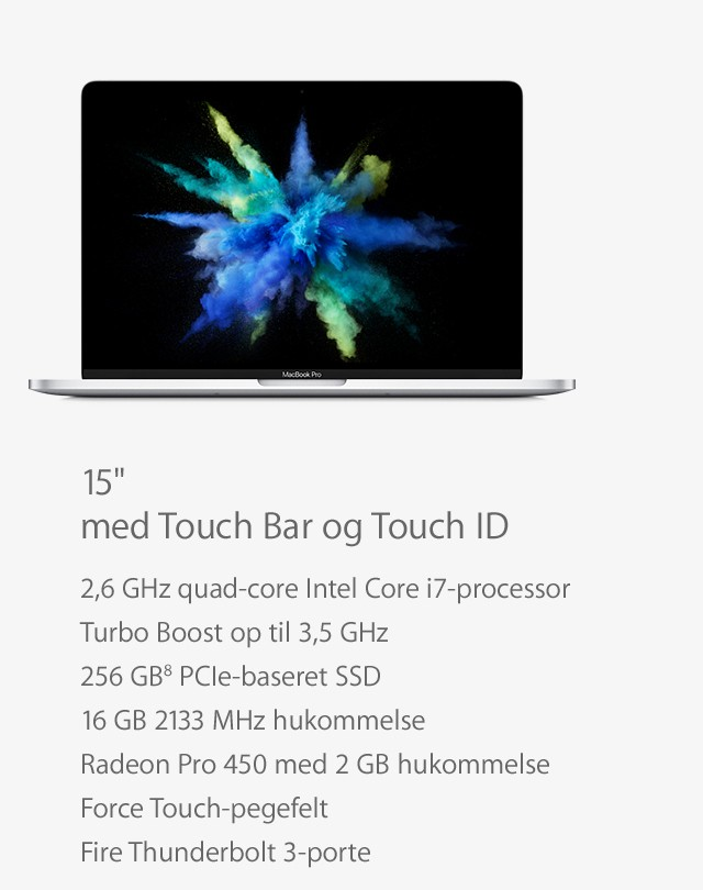 MacBook Pro 15 med Touch Bar og Touch ID