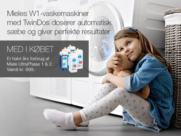 Køb en Miele vaskemaskine med TwinDos og få et halvt års forbrug af vaskemiddel med i købet.