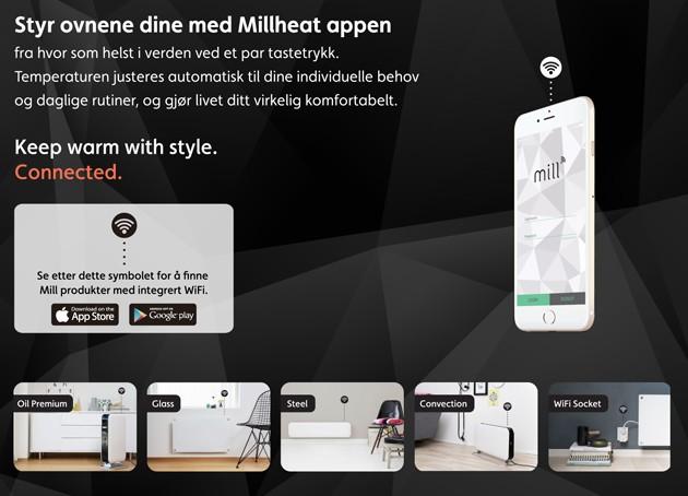 Styr ovnene dine med Millheat appen