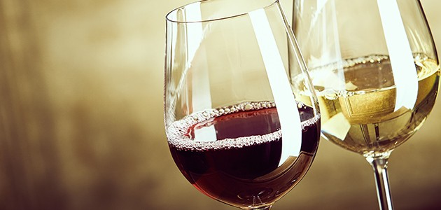 To vinglas, ét med rødvin og ét med hvidvin