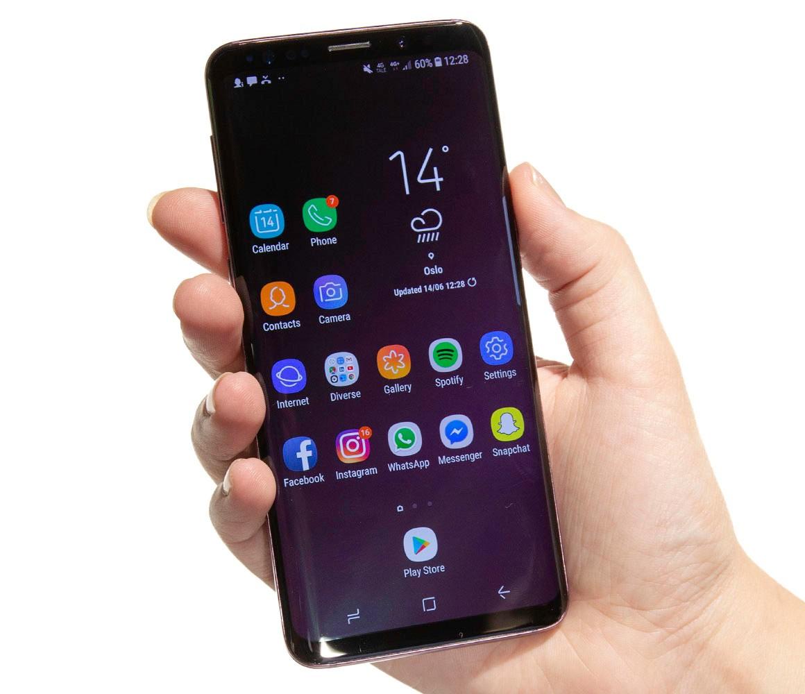 Fronten på Samsung Galaxy S9