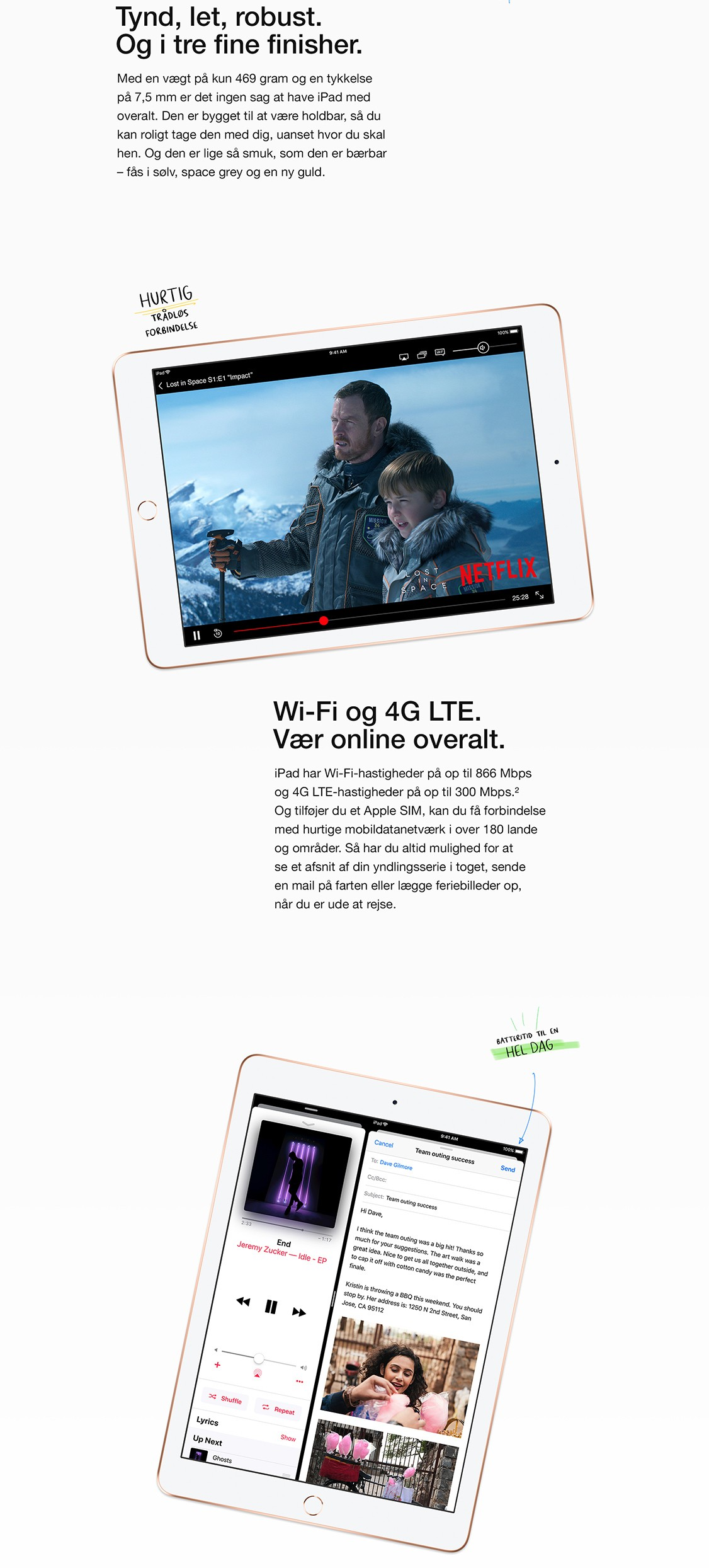"""iPad 9,7"""" - tynd, let og robust - bygget til dig"""
