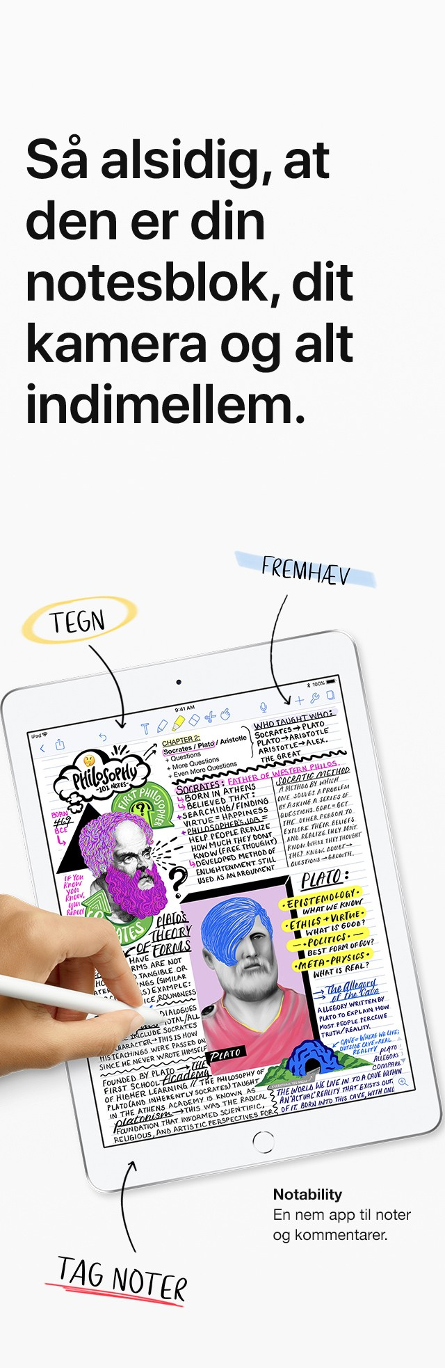 """9,7"""" iPad'en er lige så alsidig som din notesbog, kamera og alt imellem"""