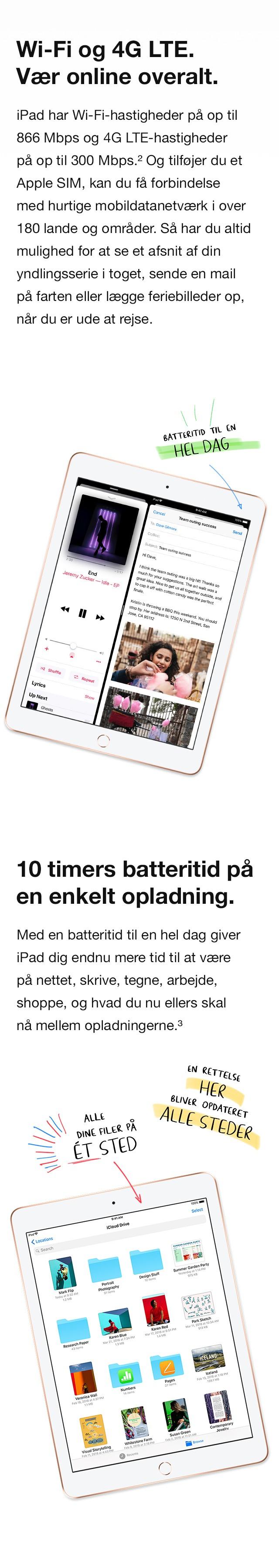 """iPad 9,7"""" - En fantastisk batteritid på 10 timer på en enkelt opladning, giver dig rig mulighed for at være kreativ hele dagen"""