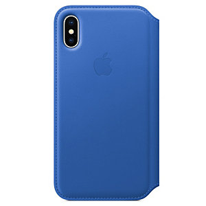 iPhone X läder foliofodral (blå)