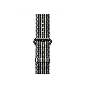 Apple 38 mm kudottu nailonranneke (musta raita)