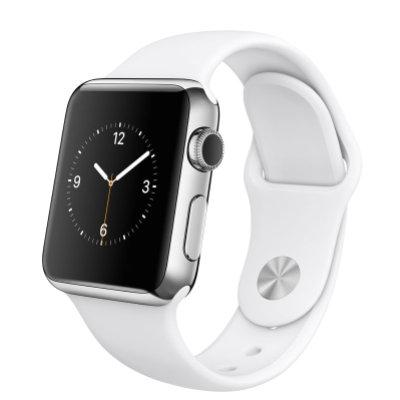 Apple Watch 42 Mm Silver Stål Vit Sportarmband Smartwatch Elgiganten