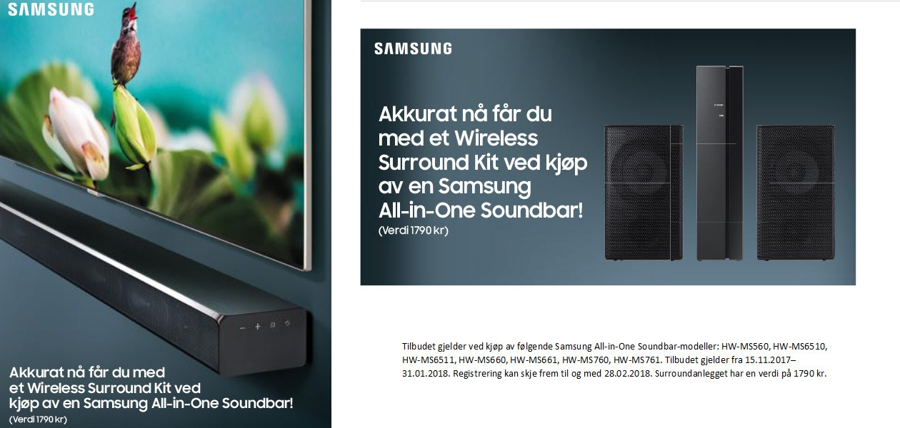 Kjøp Samsung all-in-one soundbar, få Wireless Surround kit