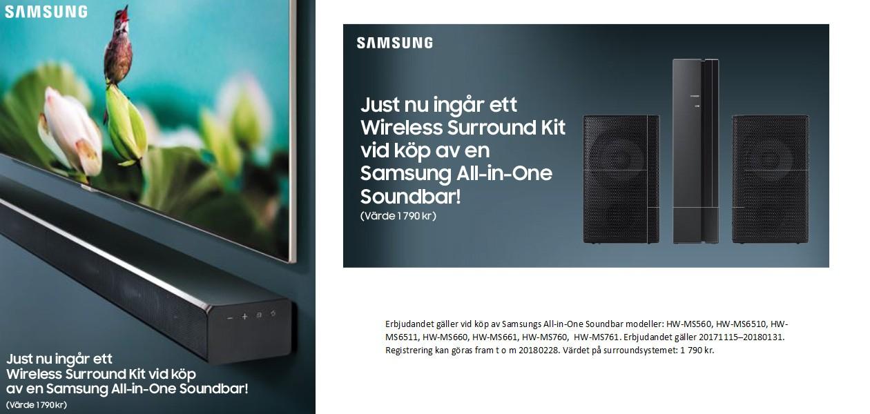 Köp Samsung All-in-One Soundbar, få Wireless Surround Kit