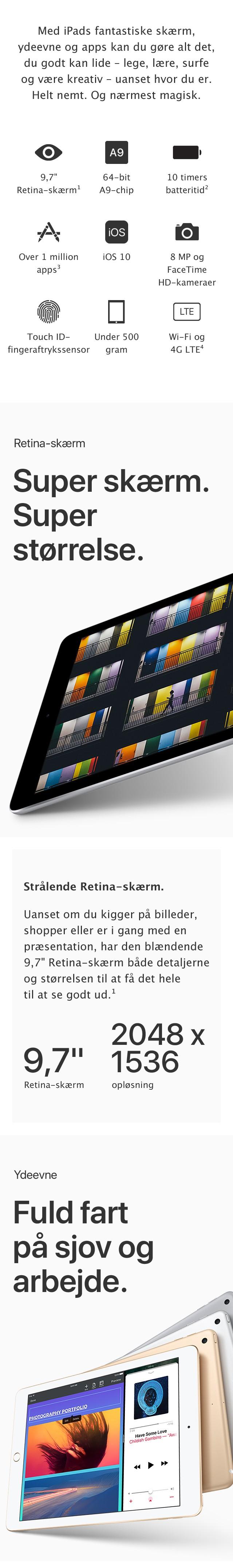 iPad - Super skærm, Super Størrelse, Fuldt fart på sjov og arbejde