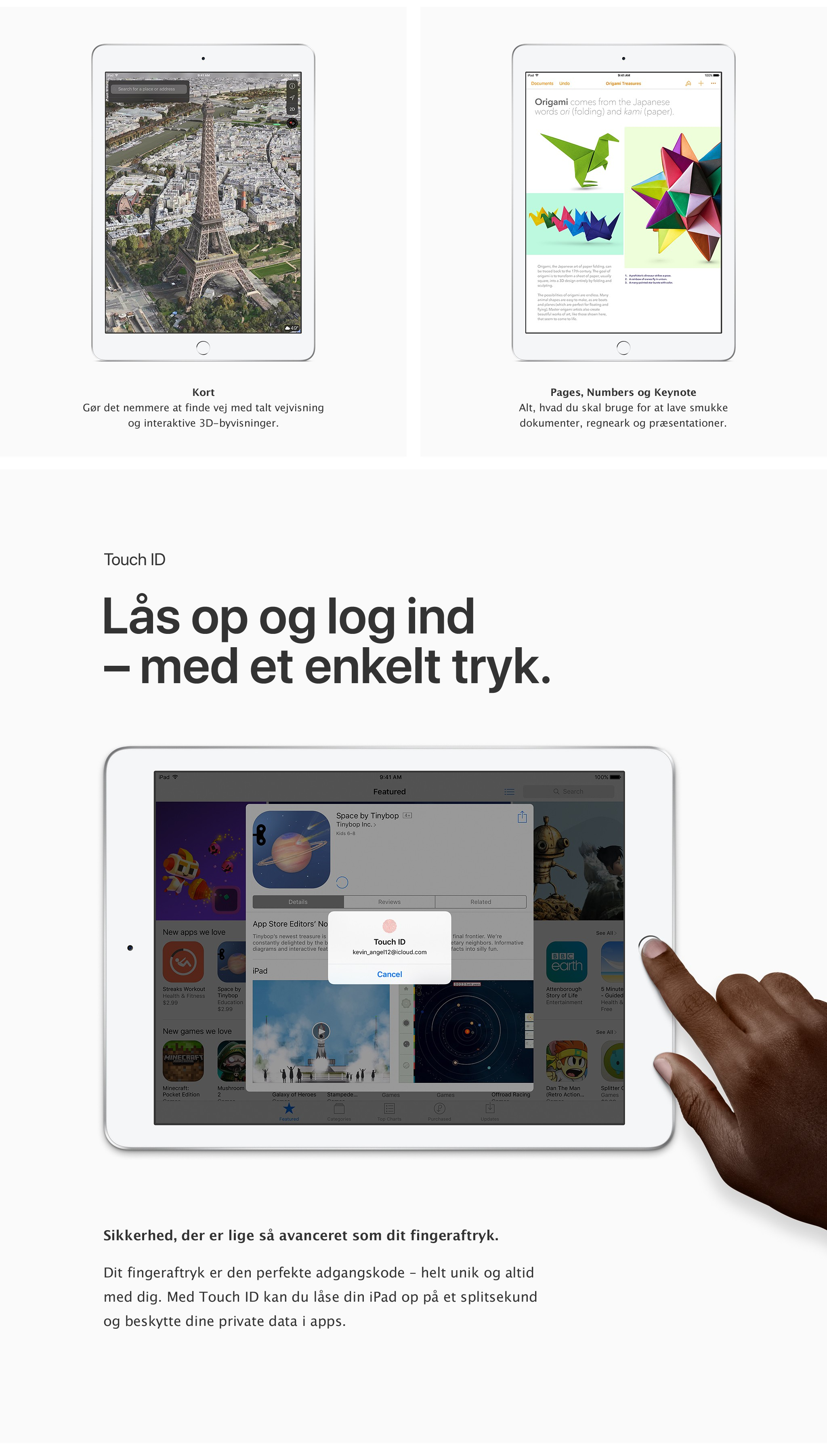 Lås op og log ind med et enkelt tryk på den nye iPad