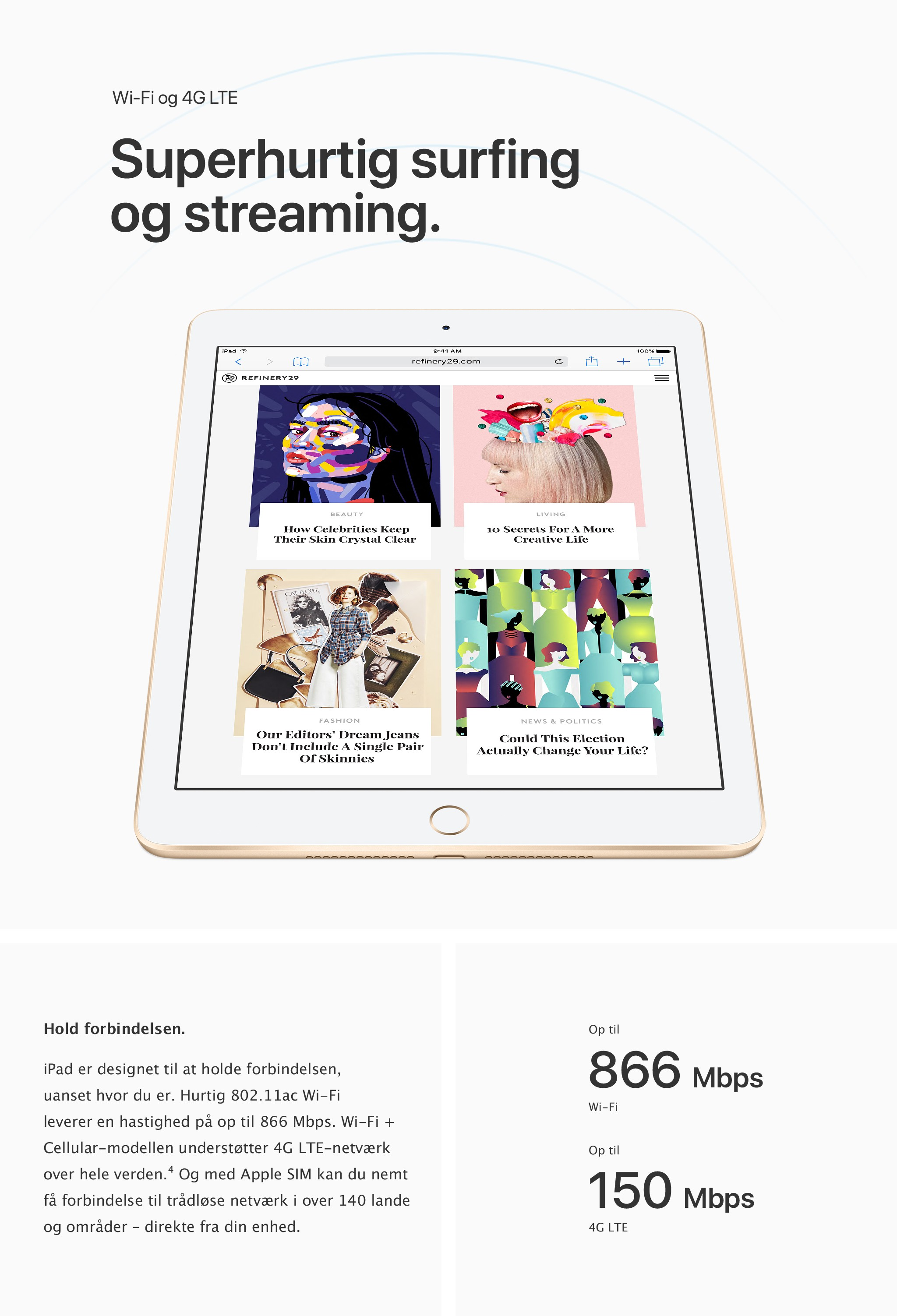 Med iPad vil du opleve superhurtig surfing og streaming