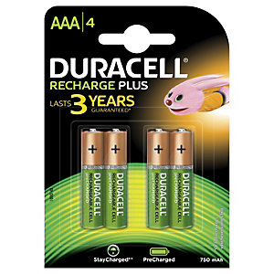 Duracell Recharge Plus AAA 750mAh Batterier, 4-pack