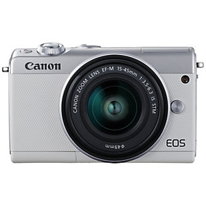 Canon EOS M100 kompaktkamera + 15-45 IS STM obj. (hvit)