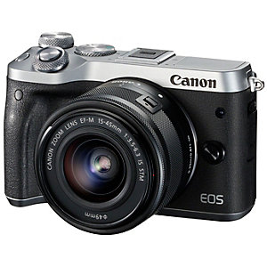 Canon EOS M6 hybridkamera + 15-45 mm linse (sølv)