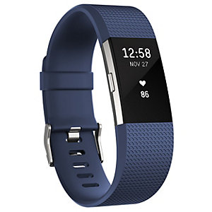 Fitbit Charge 2 aktivitetsmåler sølv/blå (L)