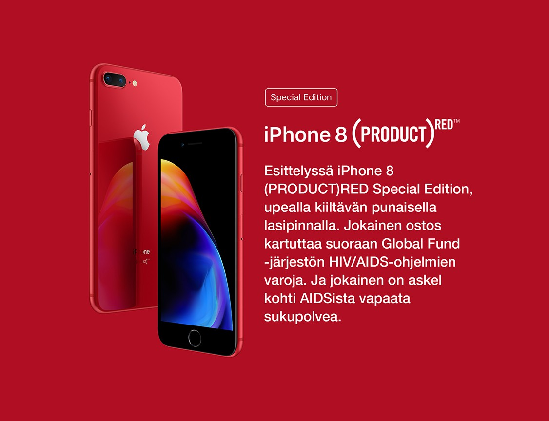 iPhone 8 saatavan myös (PRODUCT)RED -versiona