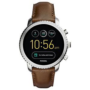 Fossil Q Explorist smartwatch (stål/brunt läder)