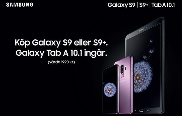 Bild av Galaxy S9/S9+ och surfplattan Galaxy Tab A 10.1