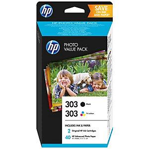 HP 303 säästöpakkaus (2 kasettia + 40 valokuvapaperia)