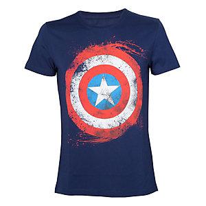 T-skjorte Marvel - Captain's Shield-motiv blå (S)