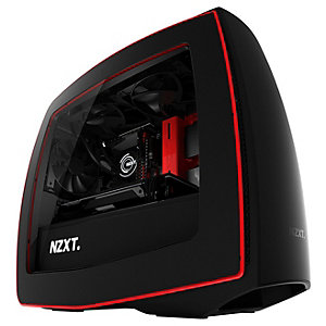 NZXT Manta Mini ITX PC-kabinett (matt sort/rød m/vindu)