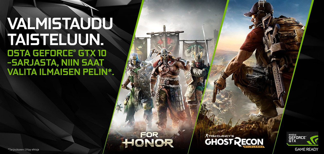 Osta GeForce GTX 10 - saat Ghost Recon: Wildlands tai For Honor -pelin kaupan päälle!