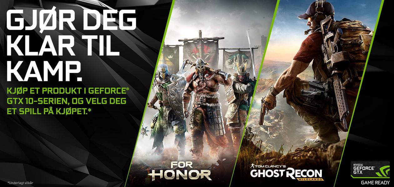 Kjøp GeForce GTX 10-serien - Få Ghost Recon: Wildlands eller For Honor helt gratis