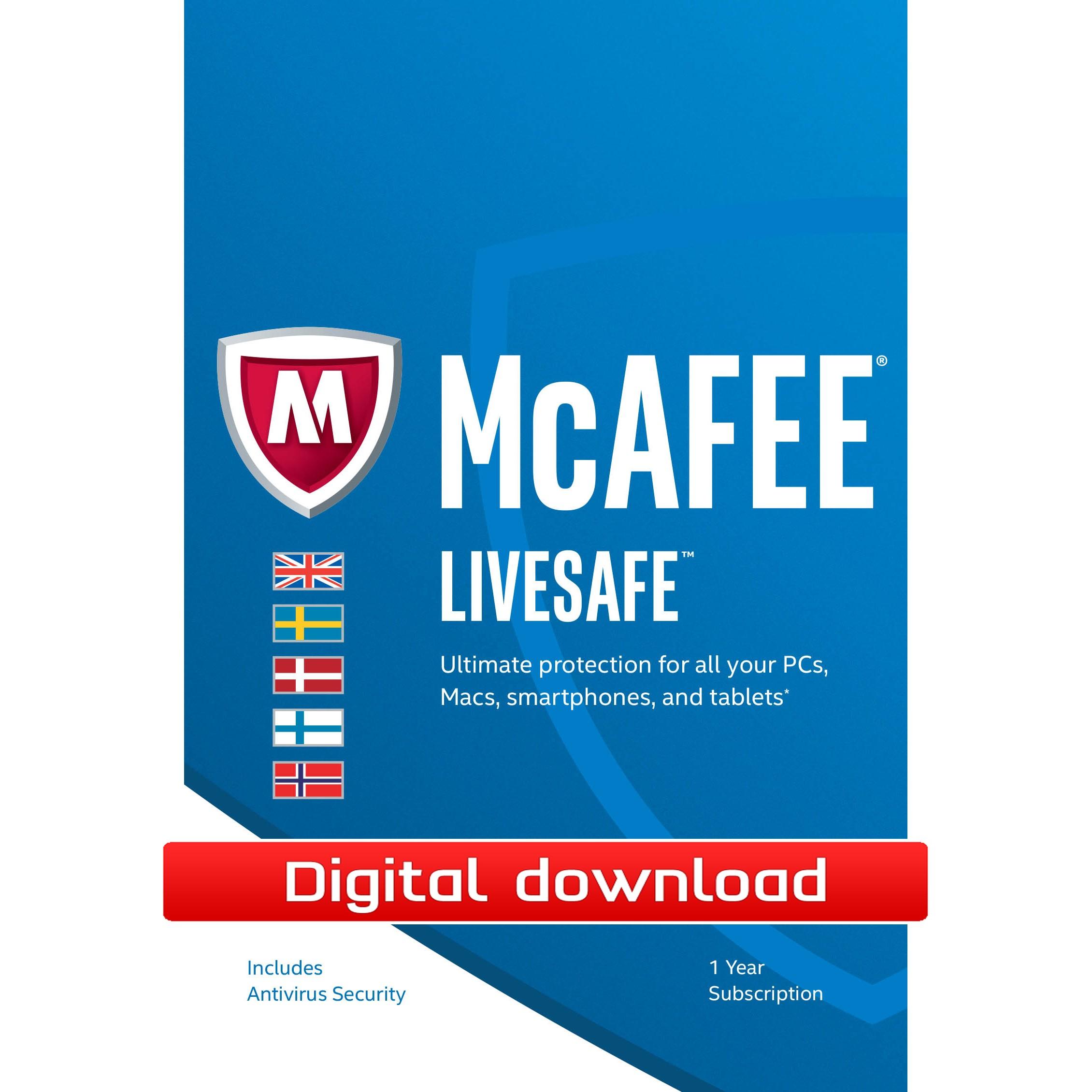 McAfee LiveSafe Premium (digital nedlastning) PCDD40226