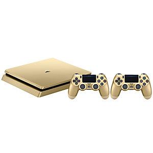 PlayStation 4 SLim 500 GB med 2x DualShock (gull)