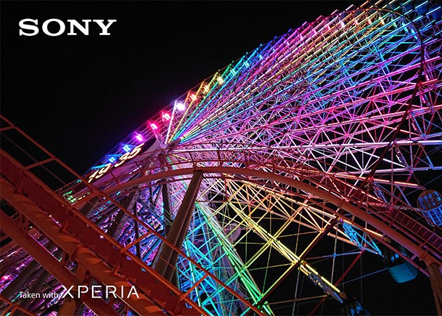 Bild på färgstarkt pariserhjul som tagits med kameran i Sony Xperia XZ3