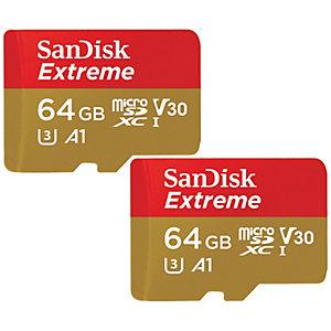 SanDisk Extreme Micro SDXC-kort 64 GB (2-pakning)