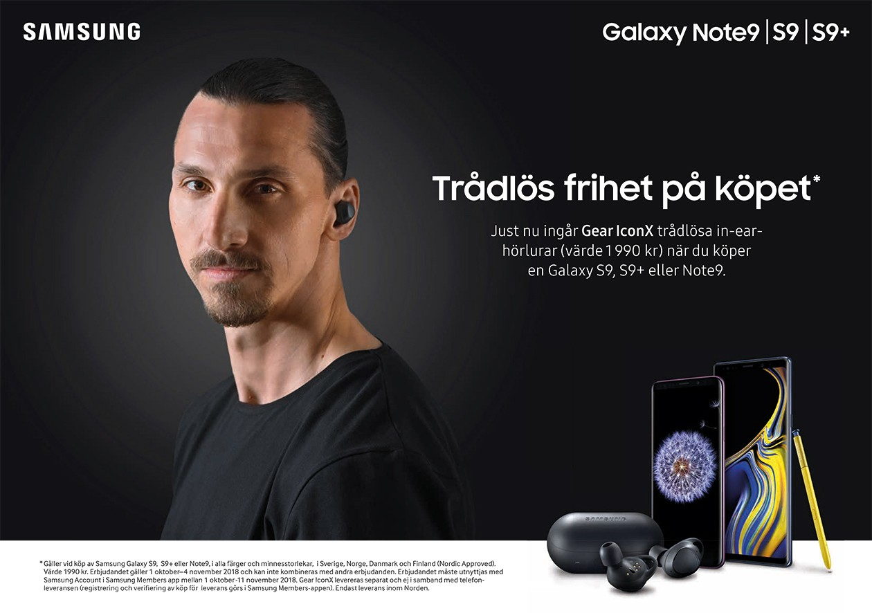Köp Samsung Galaxy S9 och få Gear IconX In-ear hörlurar